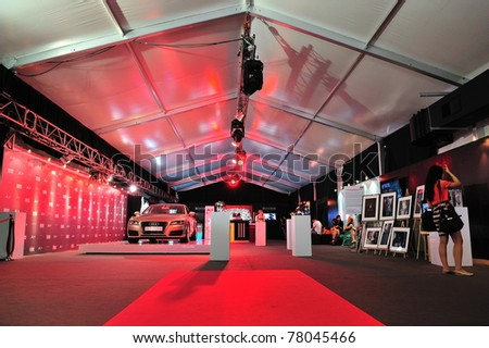 SINGAPORE - MAY 17: VIP lounge of Audi Fashion Festival 2011, featuring the newly launched Audi A7 Sportback on May 17, 2011 in Singapore.
