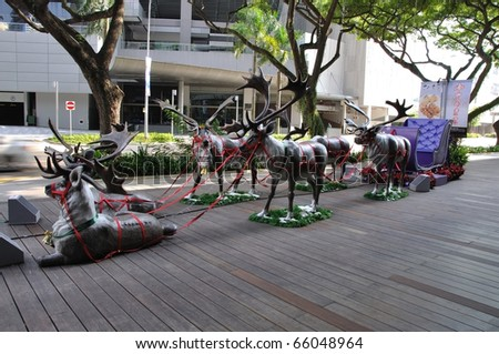 SINGAPORE - NOVEMBER 25: Christmas Reindeer Decoration at Singapore Orchard Road on November 25, 2010 in Singapore