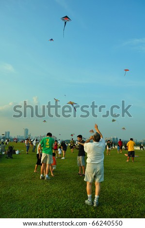 SINGAPORE - NOVEMBER 21: Kite festival, a gathering for kite enthusiast at Marina Barrage November 21, 2010 in Singapore.