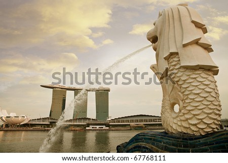 Singapore Merlion Picture Symbol on Stock Photo   Singapore   Oct 14  Merlion  Singapore S National Symbol