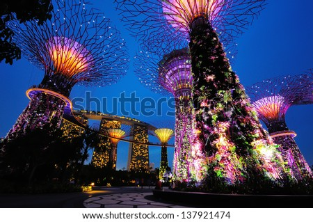 SINGAPORE - OCTOBER 5: Gardens by the Bay was crowned World Building of The Year at the prestigious World Architecture Festival held at the Marina Bay Sands Convention Centre on October 5, 2012.