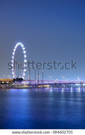 SINGAPORE - OCTOBER - 10: The  Marina Bay in center city at night october 10, 2014 in Singapore.