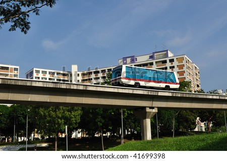 Singapore Public Transport System Monorail Train Stock Photo 41699398 ...