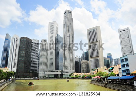 Singapore riverbank in the sunshine day