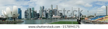 SINGAPORE - SEPTEMBER 16: A panorama aerial view of Singapore's business district and tourist attraction on September 16, 2013 in Singapore. Singapore is also South East Asia's financial capital.
