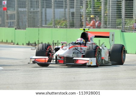 SINGAPORE - SEPTEMBER 22: Stefano Coletti racing in his Rapax car during 2012 GP2 race at Singapore Marina Bay circuit on September 22, 2012 in Singapore