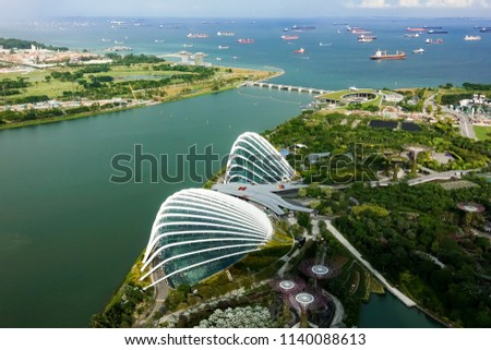 SINGAPORE,SINGAPORE - AUG. 27 : ingapore  aerial view on Auguest 27,2017 in Singapore,Singapore. It is a global commerce, finance and transport hub and has a diversity of languages,religions,cultures. #1140088613