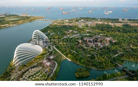 SINGAPORE,SINGAPORE - AUG. 27 : Singapore aerial view on Auguest 27,2017 in Singapore,Singapore. It is a global commerce, finance and transport hub and has a diversity of languages,religions,cultures. #1140152990