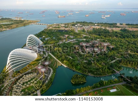 SINGAPORE,SINGAPORE - AUG. 27 : Singapore aerial view on Auguest 27,2017 in Singapore,Singapore. It is a global commerce, finance and transport hub and has a diversity of languages,religions,cultures. #1140153008