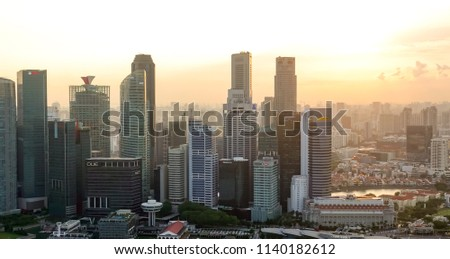 SINGAPORE,SINGAPORE - AUG. 27 : Singapore aerial view on Auguest 27,2017 in Singapore,Singapore. It is a global commerce, finance and transport hub and has a diversity of languages,religions,cultures. #1140182612