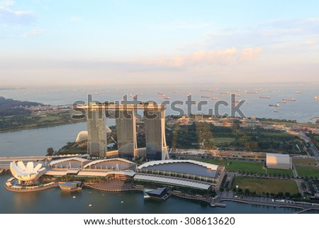 Singapore, Singapore - May 18,2015: Marina Bay Sands hotel in Singapore. The hotel is a luxury resort famous for its infinity swimming pool. The hotel is a landmark in Singapore.
