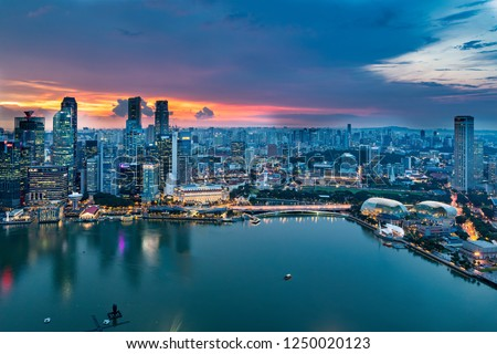 Singapore, Singapore - November 20, 2018:Sunset View of the Singapore Skyline from the Marina Bay Sands Hotel, on November 20, 2018 in Singapore #1250020123