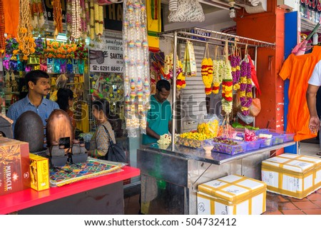 Singapore, Singapore - October 15, 2016 : flower shops at Little India, Singapore during Deepavali day  #504732412