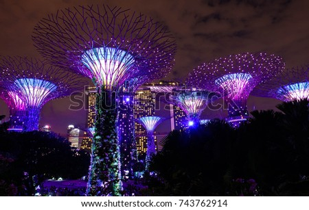 Singapore, Singapore - SEPTEMBER 29, 2016: Supertrees grove in Gardens by the Bay #743762914