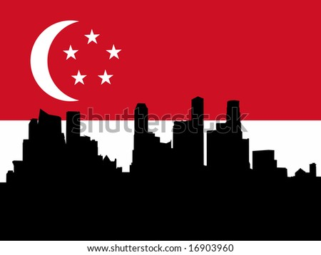against Singaporean flag