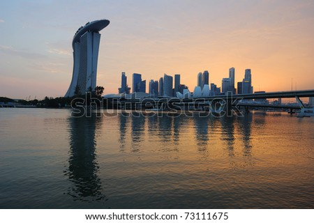 Singapore skyline and river at golden sunset