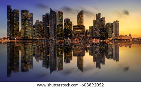 Singapore Skyline and view of skyscrapers on Marina Bay #603892052