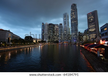 Singapore skyline, Asia. Evening urban view. Logos and names on skyscrapers removed.