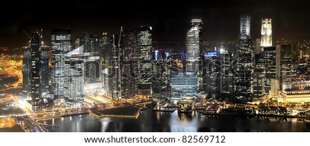 Singapore Skyline at Night from Marina Bay Sands resort