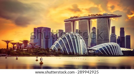 Singapore skyline at sunset with skyscrapers stock photo