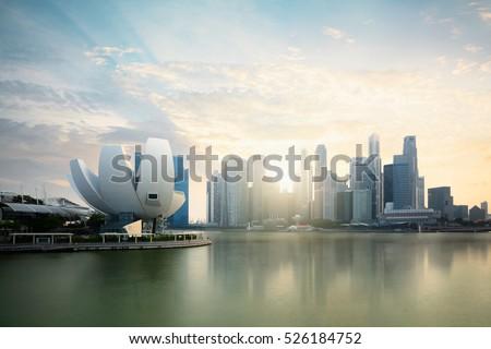 Singapore skyline at the Marina during twilight, Singapore cityscape, Singapore