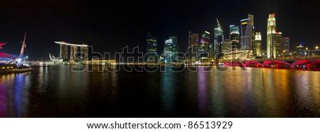 Singapore Skyline from Esplanade Night Scene Panorama
