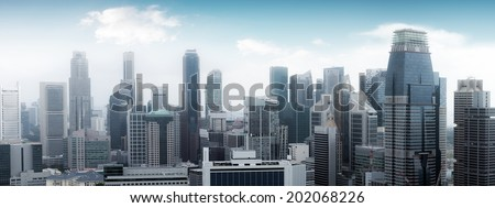Singapore skyline panoramic view. High modern skyscrapers
