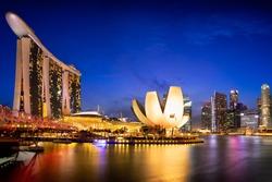 Singapore skyline, Singapore Marina bay at dusk, Singapore