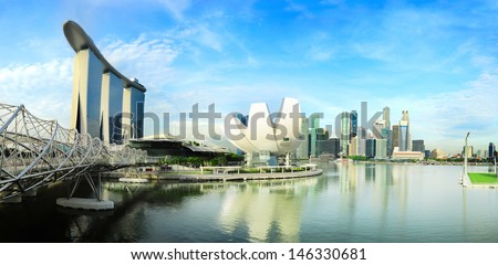 Singapore skyline. View from Helix Bridge