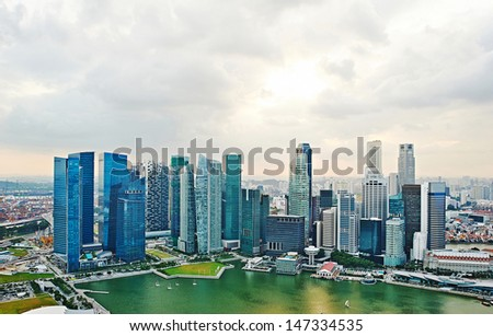 Singapore skyline. View from Marina Bay Sands hotel