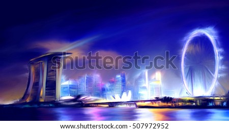 Singapore Skyline view of Marina Bay Digital Oil color painting abstract