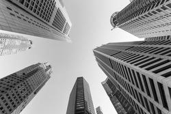 Singapore skyscraper in black and white