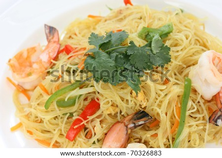 Singapore Noodle Picture on Singapore Style Stir Fried Rice Vermicelli Noodles Stock Photo