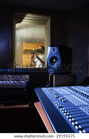 Singer at audio recording studio