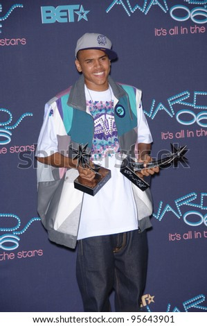 Singer CHRIS BROWN at the 2006 BET Awards in Los Angeles.. June 27, 2006  Los Angeles, CA  2006 Paul Smith / Featureflash