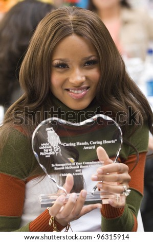 Singer CIARA at a media event at the Ronald McDonald House in Los Angeles to launch the 2005 World Children\'s Day at McDonalds.  November 15, 2005  Los Angeles, CA.  2005 Paul Smith / Featureflash