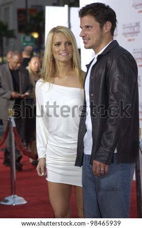 Singer JESSICA SIMPSON & husband singer NICK LACHEY at the Hollywood premiere of Charlie's Angels: Full Throttle. June 18, 2003  Paul Smith / Featureflash