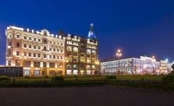 Singer (Zinger) House on Nevsky prospect at night, Saint Petersburg, Russia