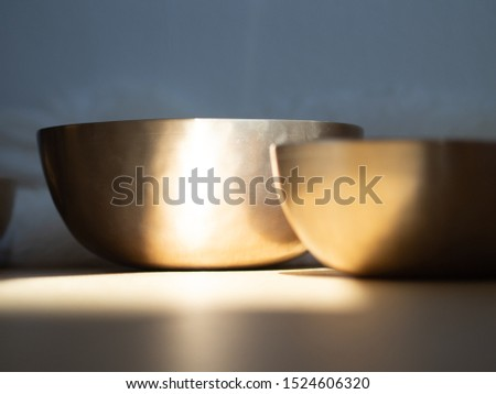 Singing bowls for soundhealing instruments for calming and relaxing ceremony.