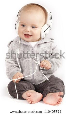 Singing child in headphones