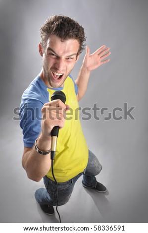 singing man - stock photo