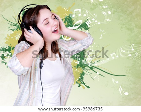 Singing Teenage girl in headphones on green abstract background with musical elements