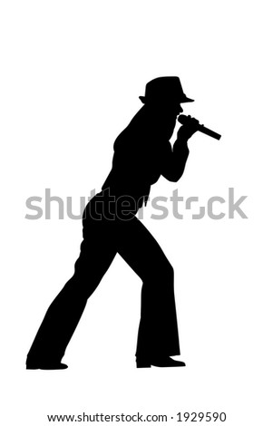singing woman silhouette over white - stock photo