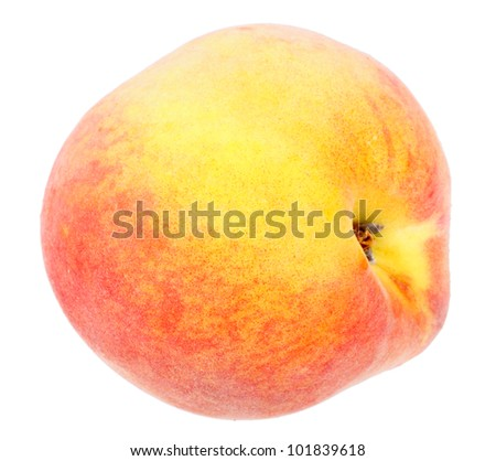 Single a fresh red-yellow peach. Isolated on white background. Close-up. Studio photography.