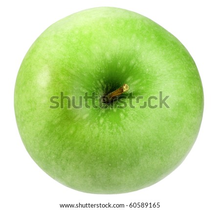 Single a green apple. Isolated on white background. Close-up. Studio photography.