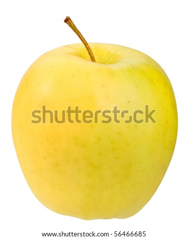 Single a yellow apple. Isolated on white background. Close-up. Studio photography.