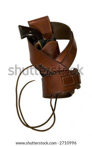 Single action revolver, belt and holster with leg ties