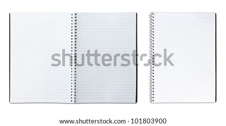 single and two page blank notebook on white background