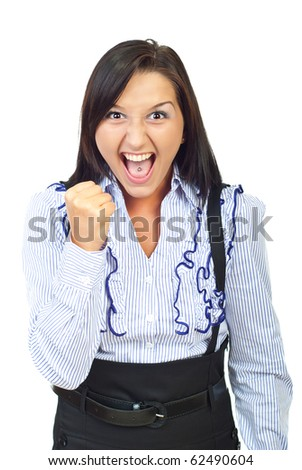Single angry woman in conflict screaming and showing her fist isolated on white background