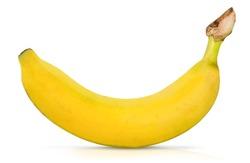 single banana isolated on white backgroud